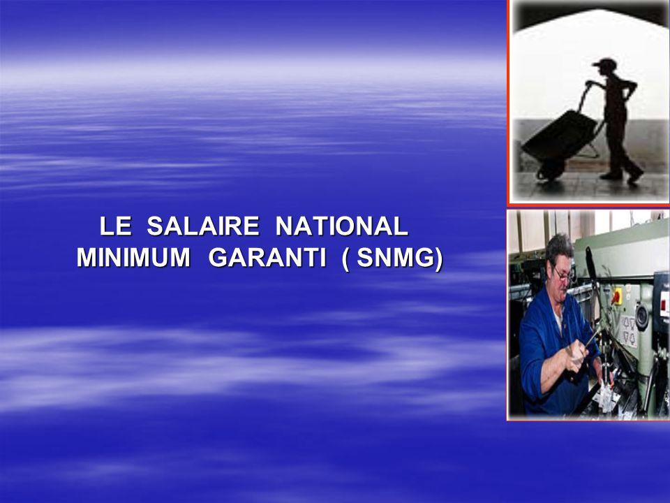 LE SALAIRE NATIONAL MINIMUM GARANTI ( SNMG) LE SALAIRE NATIONAL MINIMUM GARANTI ( SNMG)