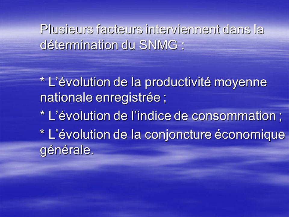Plusieurs facteurs interviennent dans la détermination du SNMG : Plusieurs facteurs interviennent dans la détermination du SNMG : * Lévolution de la p