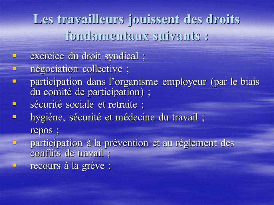 Les travailleurs jouissent des droits fondamentaux suivants : exercice du droit syndical ; exercice du droit syndical ; négociation collective ; négoc