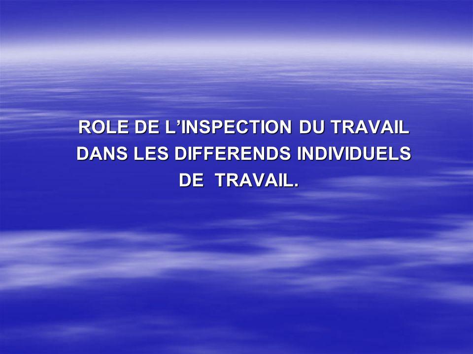ROLE DE LINSPECTION DU TRAVAIL ROLE DE LINSPECTION DU TRAVAIL DANS LES DIFFERENDS INDIVIDUELS DANS LES DIFFERENDS INDIVIDUELS DE TRAVAIL. DE TRAVAIL.