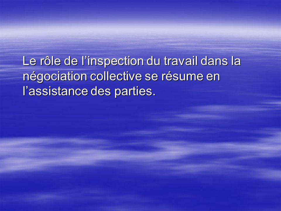 Le rôle de linspection du travail dans la négociation collective se résume en lassistance des parties. Le rôle de linspection du travail dans la négoc