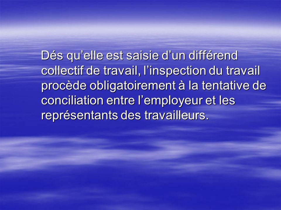 Dés quelle est saisie dun différend collectif de travail, linspection du travail procède obligatoirement à la tentative de conciliation entre lemploye