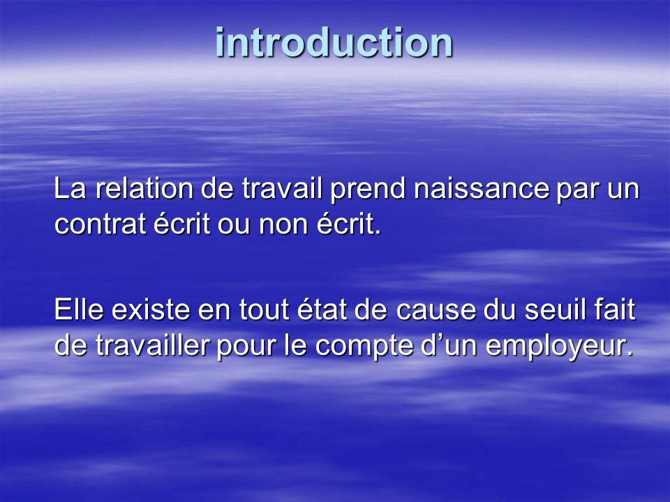 introduction La relation de travail prend naissance par un contrat écrit ou non écrit. La relation de travail prend naissance par un contrat écrit ou