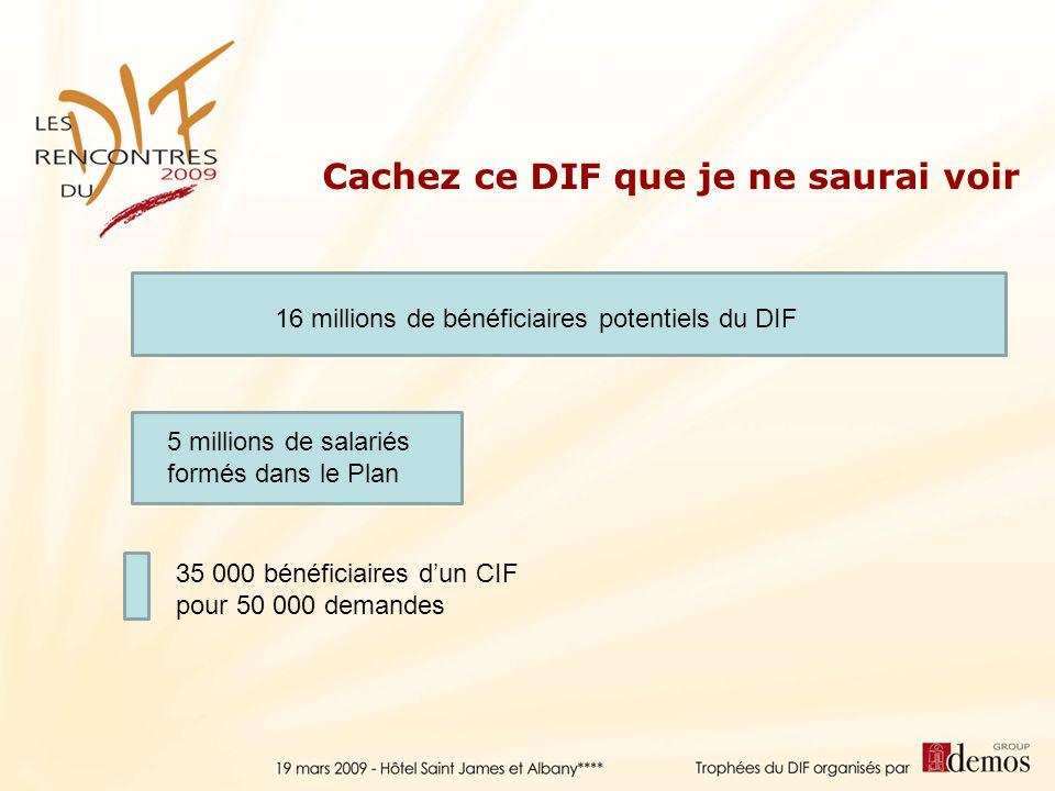 16 millions de bénéficiaires potentiels du DIF 5 millions de salariés formés dans le Plan 35 000 bénéficiaires dun CIF pour 50 000 demandes