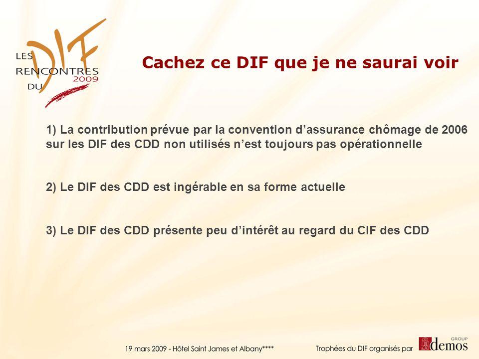 Cachez ce DIF que je ne saurai voir 1) La contribution prévue par la convention dassurance chômage de 2006 sur les DIF des CDD non utilisés nest toujo