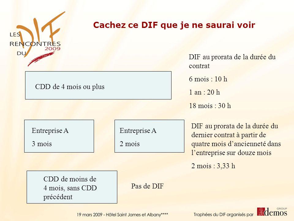 CDD de 4 mois ou plus DIF au prorata de la durée du contrat 6 mois : 10 h 1 an : 20 h 18 mois : 30 h Entreprise A 3 mois Entreprise A 2 mois DIF au pr