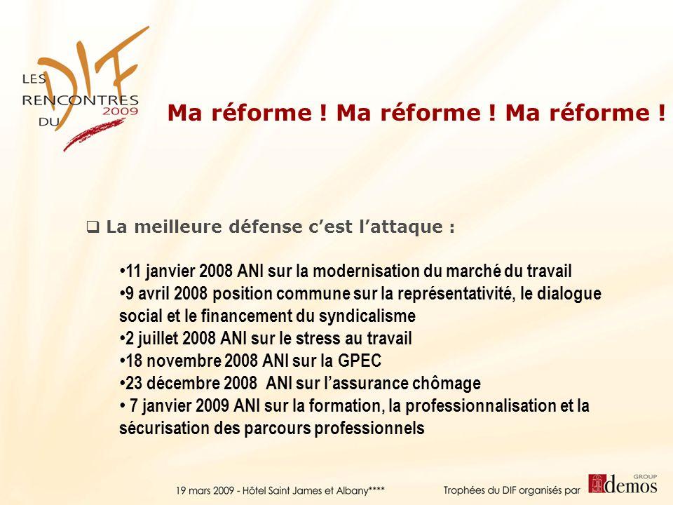 La meilleure défense cest lattaque : 11 janvier 2008 ANI sur la modernisation du marché du travail 9 avril 2008 position commune sur la représentativi