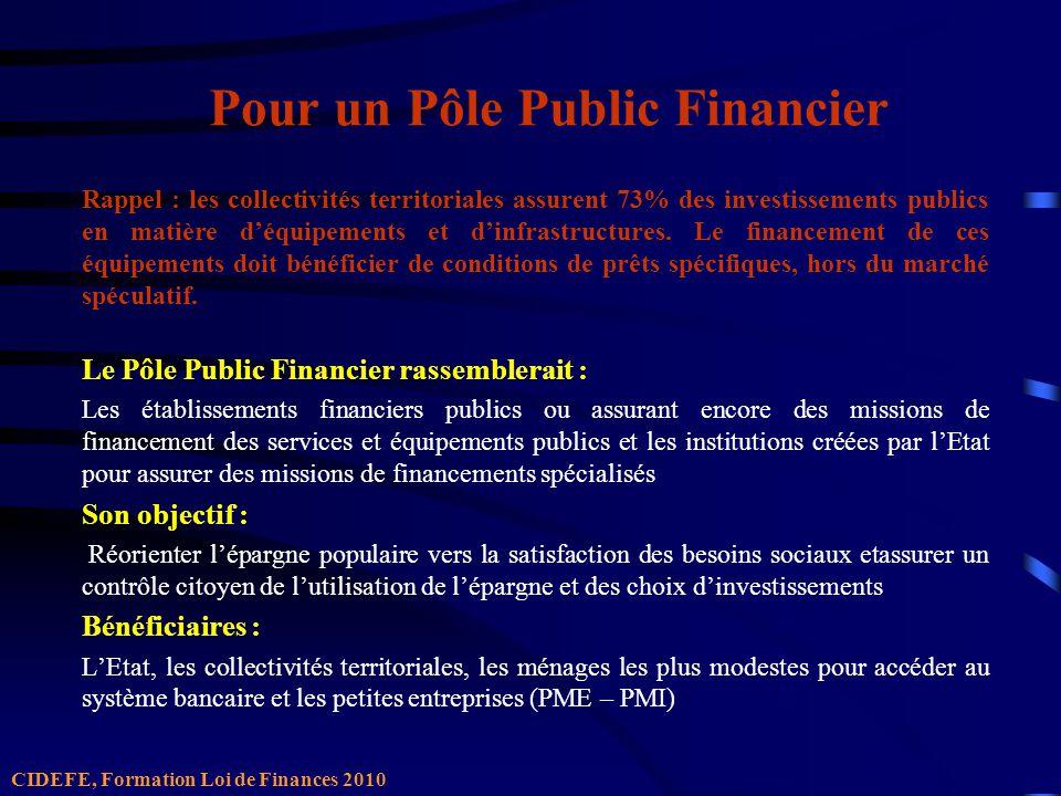 Pour un Pôle Public Financier Rappel : les collectivités territoriales assurent 73% des investissements publics en matière déquipements et dinfrastructures.