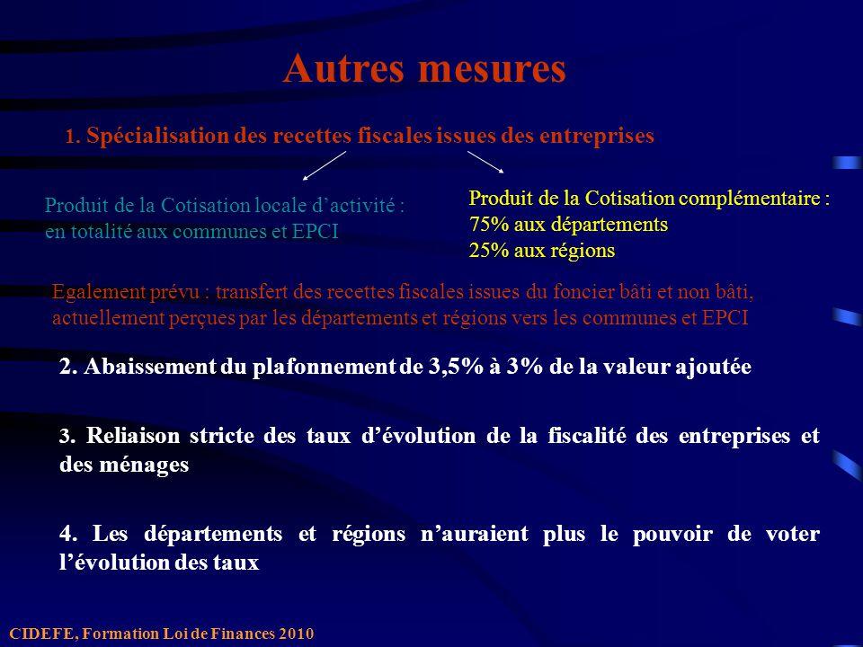 1. Spécialisation des recettes fiscales issues des entreprises 2.
