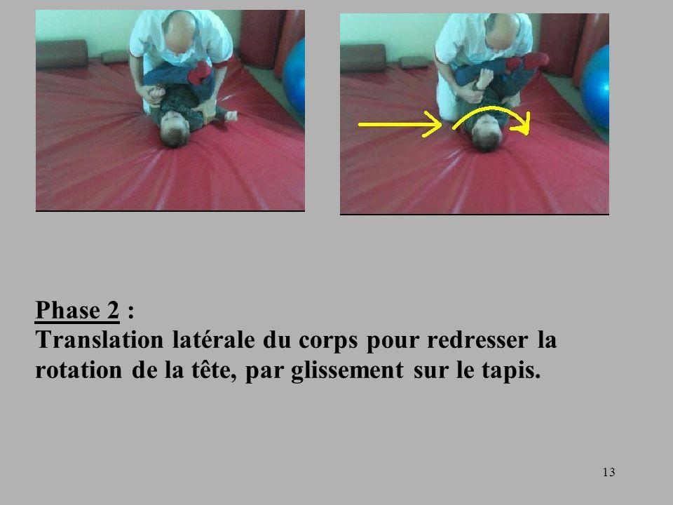 13 Phase 2 : Translation latérale du corps pour redresser la rotation de la tête, par glissement sur le tapis.