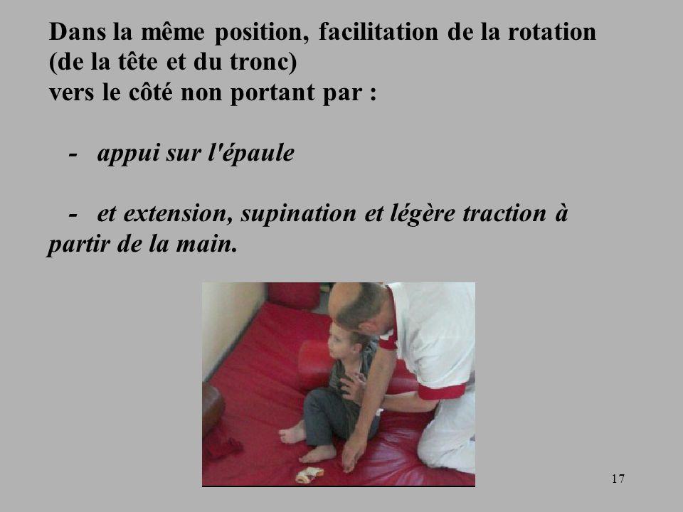17 Dans la même position, facilitation de la rotation (de la tête et du tronc) vers le côté non portant par : - appui sur l épaule - et extension, supination et légère traction à partir de la main.