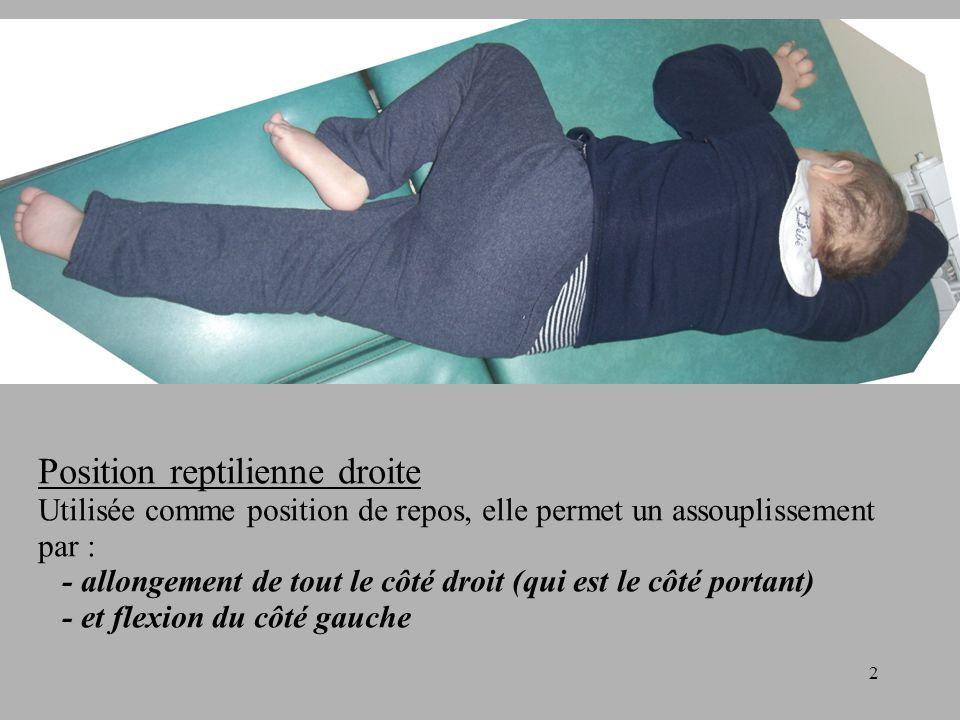 2 Position reptilienne droite Utilisée comme position de repos, elle permet un assouplissement par : - allongement de tout le côté droit (qui est le côté portant) - et flexion du côté gauche