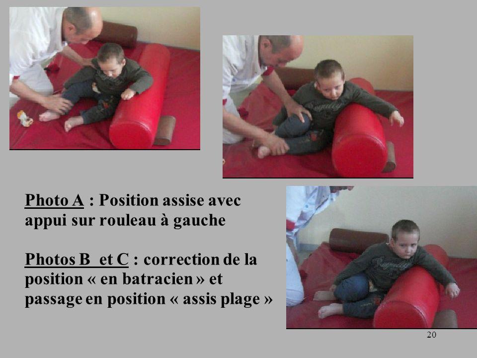 20 Photo A : Position assise avec appui sur rouleau à gauche Photos B et C : correction de la position « en batracien » et passage en position « assis plage »