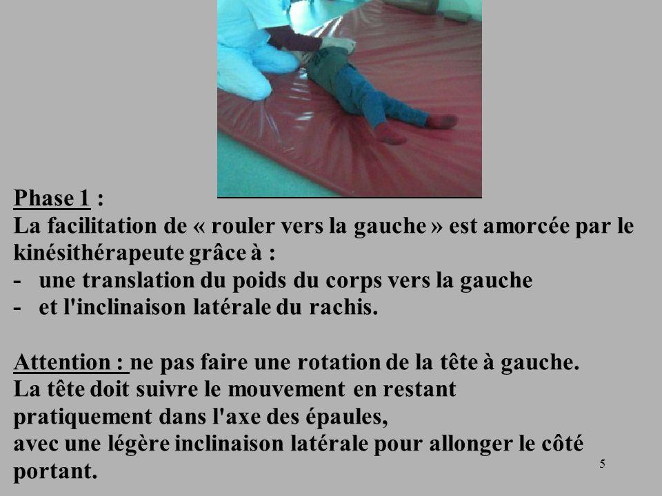 5 Phase 1 : La facilitation de « rouler vers la gauche » est amorcée par le kinésithérapeute grâce à : - une translation du poids du corps vers la gauche - et l inclinaison latérale du rachis.