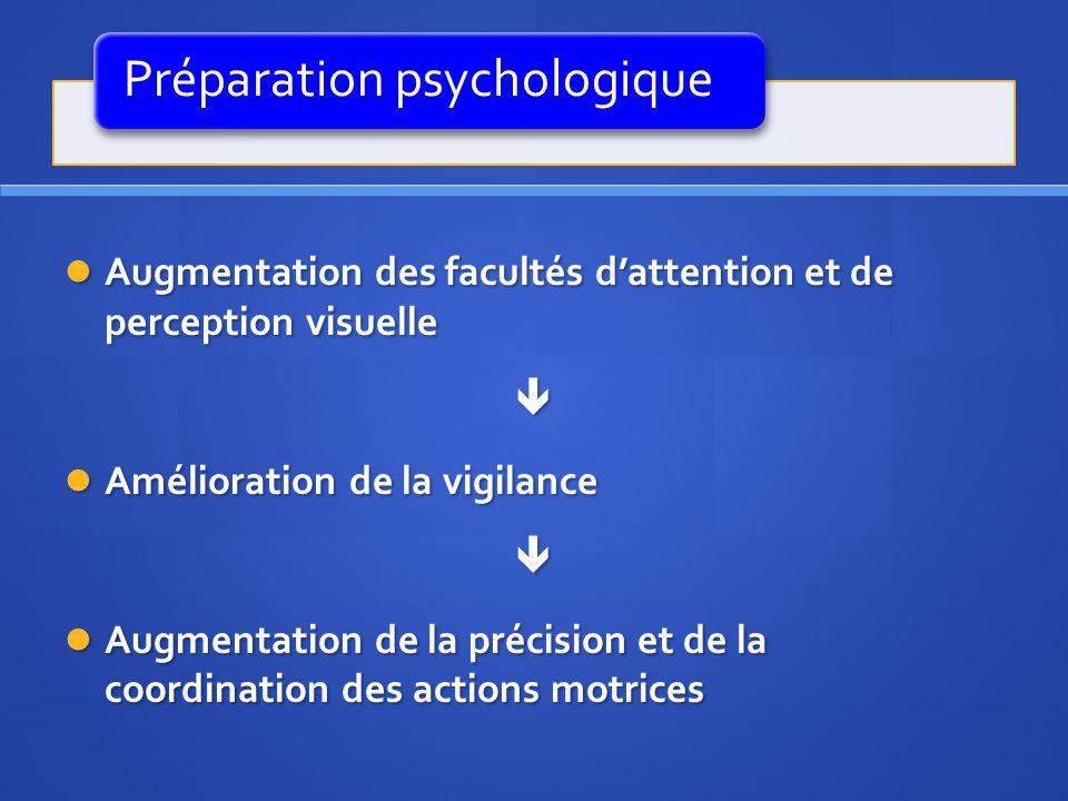 Préparation psychologique Augmentation des facultés dattention et de perception visuelle Augmentation des facultés dattention et de perception visuell