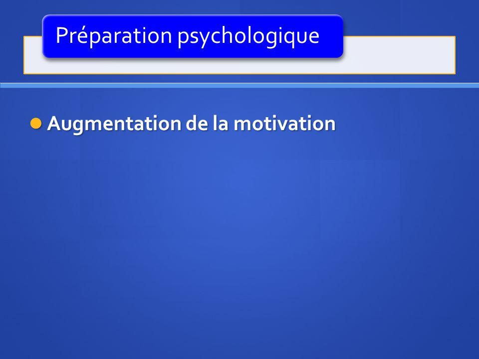 Préparation psychologique Augmentation de la motivation Augmentation de la motivation