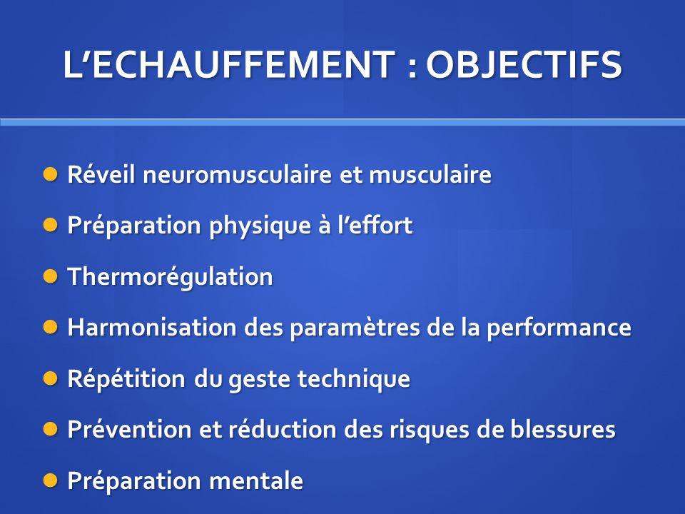 LECHAUFFEMENT : OBJECTIFS Réveil neuromusculaire et musculaire Réveil neuromusculaire et musculaire Préparation physique à leffort Préparation physiqu