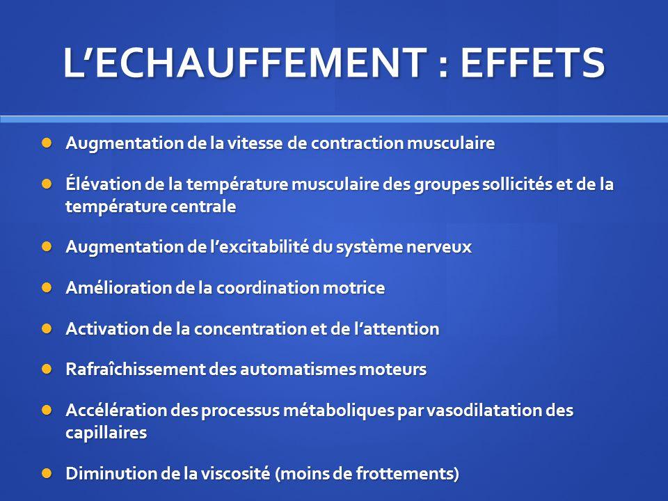 LECHAUFFEMENT : EFFETS Augmentation de la vitesse de contraction musculaire Augmentation de la vitesse de contraction musculaire Élévation de la tempé