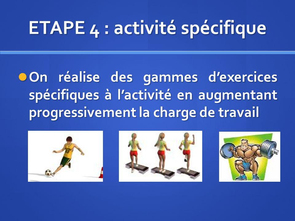 ETAPE 4 : activité spécifique On réalise des gammes dexercices spécifiques à lactivité en augmentant progressivement la charge de travail On réalise d