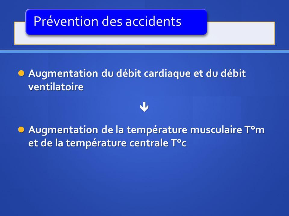 Prévention des accidents Augmentation du débit cardiaque et du débit ventilatoire Augmentation du débit cardiaque et du débit ventilatoire Augmentatio