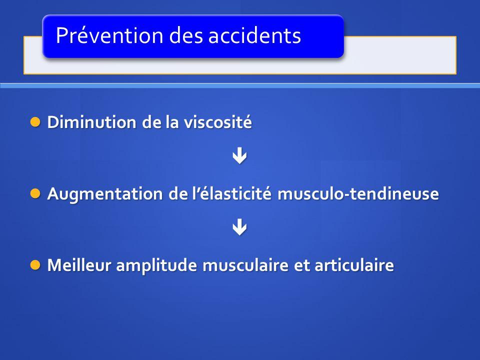 Prévention des accidents Diminution de la viscosité Diminution de la viscosité Augmentation de lélasticité musculo-tendineuse Augmentation de lélastic