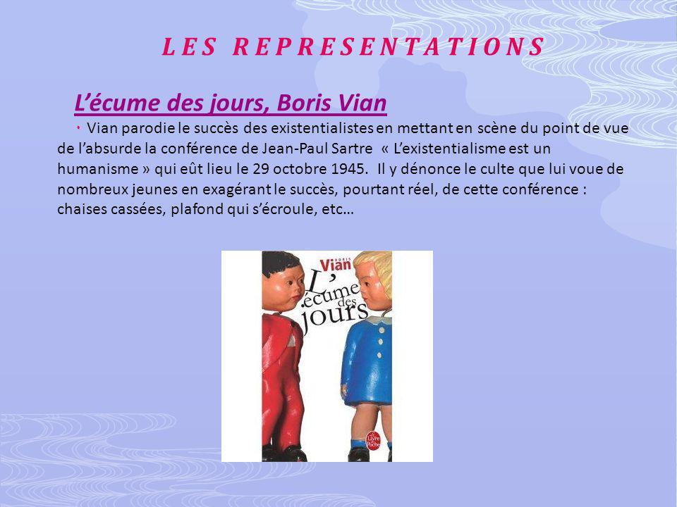 L E S R E P R E S E N T A T I O N S Lécume des jours, Boris Vian ۰ Vian parodie le succès des existentialistes en mettant en scène du point de vue de labsurde la conférence de Jean-Paul Sartre « Lexistentialisme est un humanisme » qui eût lieu le 29 octobre 1945.