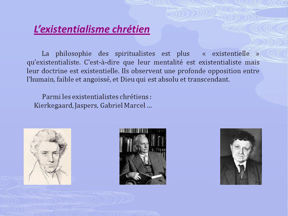 Lexistentialisme chrétien La philosophie des spiritualistes est plus « existentielle » quexistentialiste.