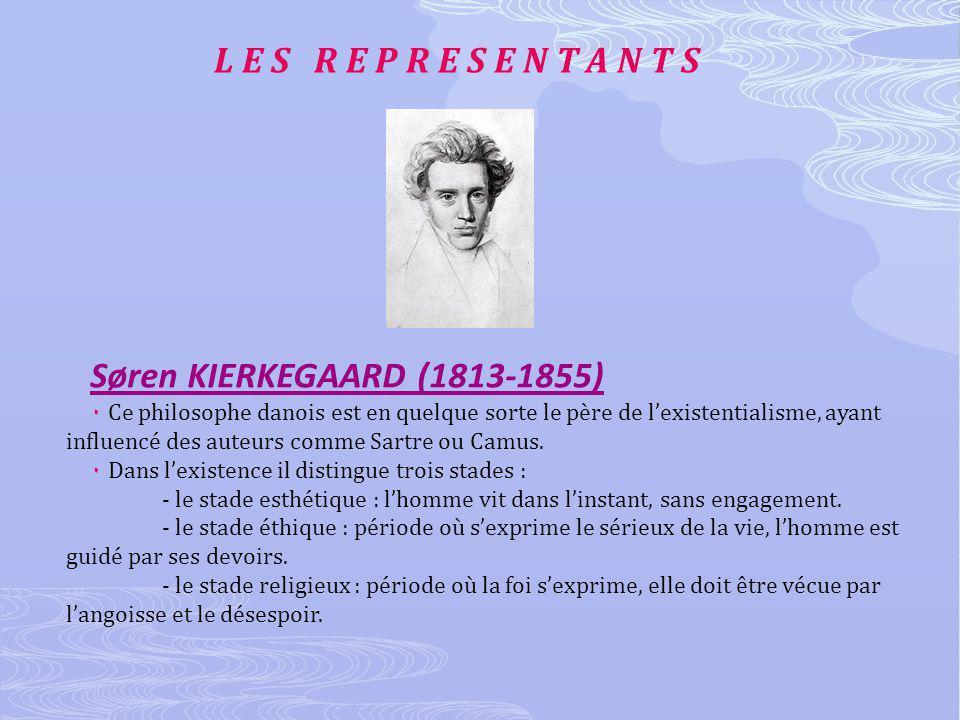 L E S R E P R E S E N T A N T S Søren KIERKEGAARD (1813-1855) ۰ Ce philosophe danois est en quelque sorte le père de lexistentialisme, ayant influencé des auteurs comme Sartre ou Camus.