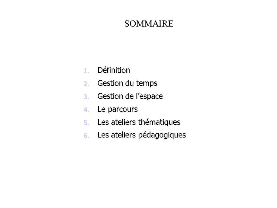 SOMMAIRE 1. Définition 2. Gestion du temps 3. Gestion de lespace 4. Le parcours 5. Les ateliers thématiques 6. Les ateliers pédagogiques