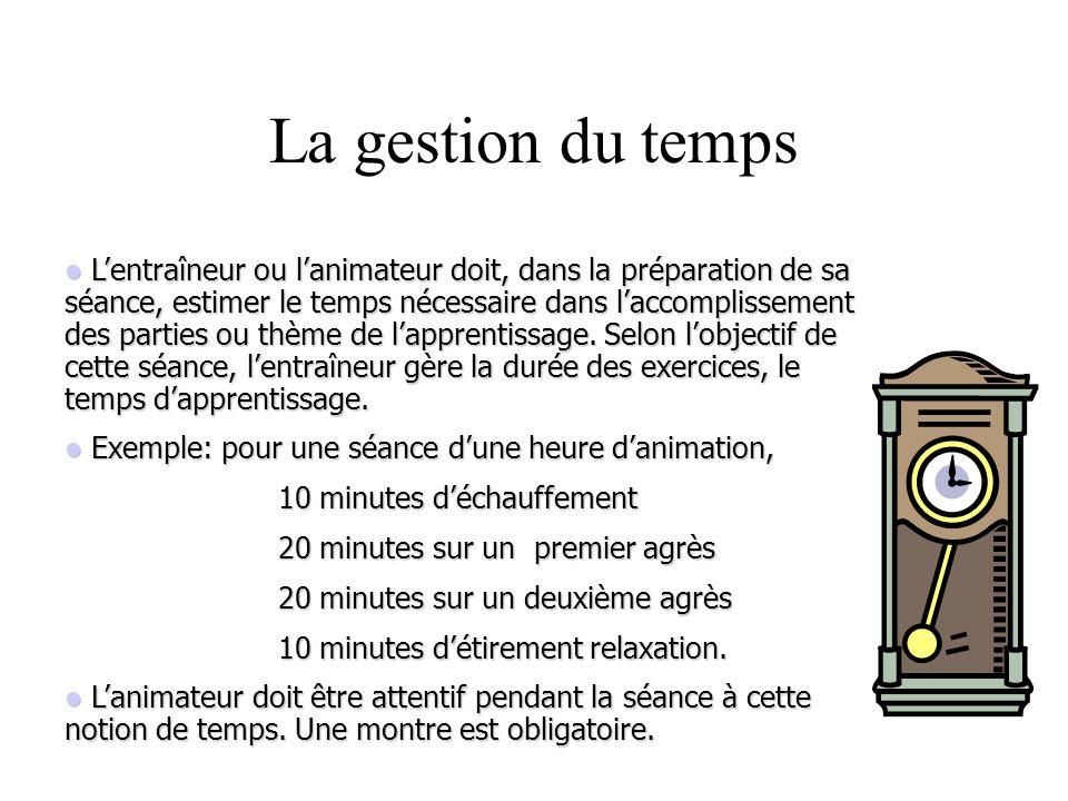 Lentraîneur ou lanimateur doit, dans la préparation de sa séance, estimer le temps nécessaire dans laccomplissement des parties ou thème de lapprentis