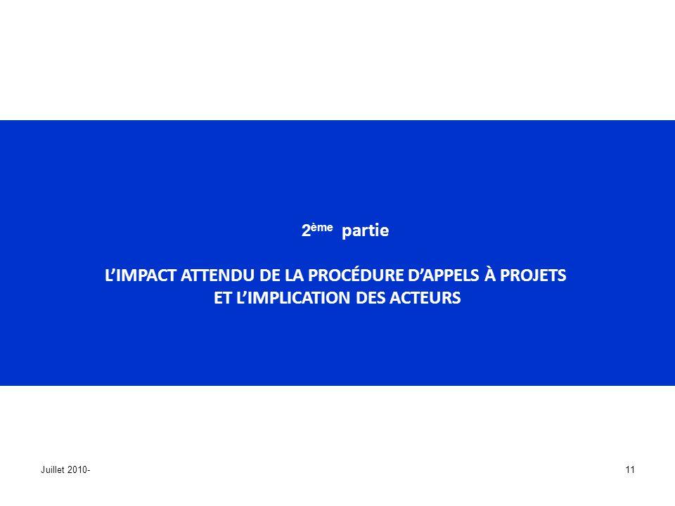 Juillet 2010-11 2 ème partie LIMPACT ATTENDU DE LA PROCÉDURE DAPPELS À PROJETS ET LIMPLICATION DES ACTEURS