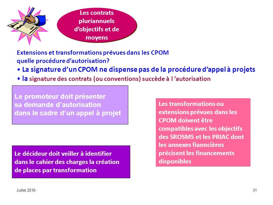 Juillet 2010-31 Les contrats pluriannuels dobjectifs et de moyens Extensions et transformations prévues dans les CPOM quelle procédure dautorisation.