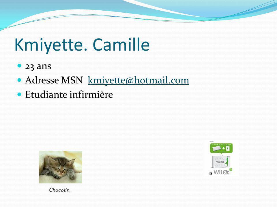 Kmiyette. Camille 23 ans Adresse MSN kmiyette@hotmail.comkmiyette@hotmail.com Etudiante infirmière Chocolin