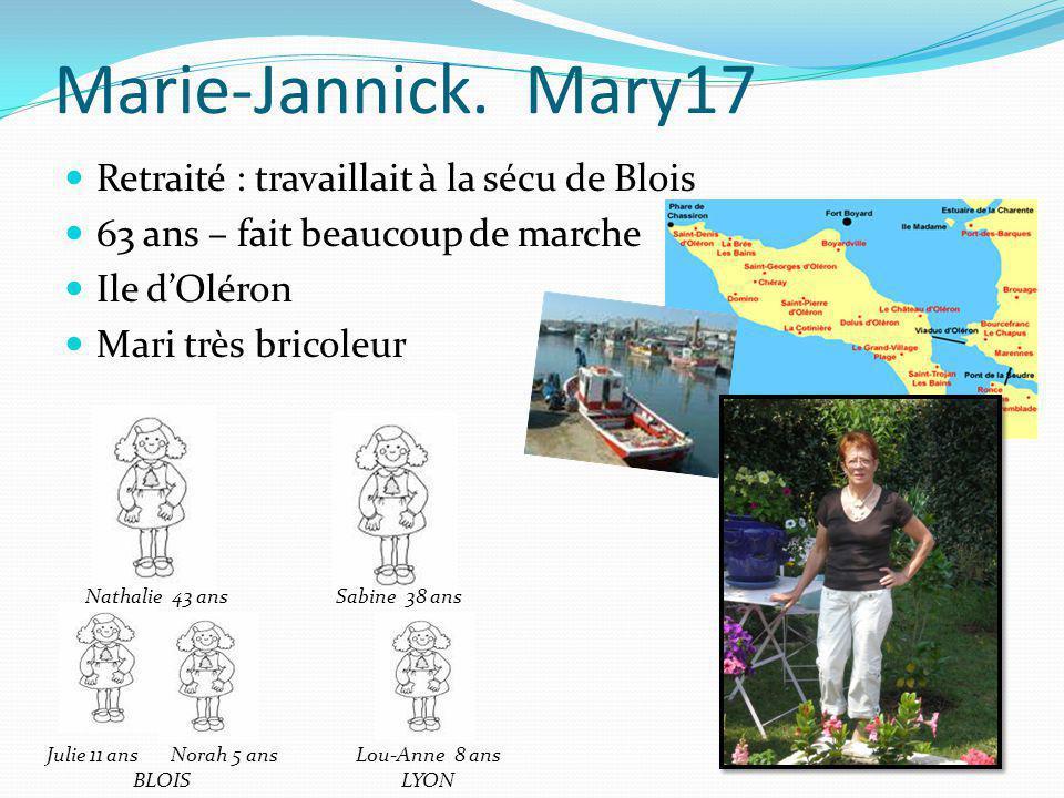 Marie-Jannick. Mary17 Retraité : travaillait à la sécu de Blois 63 ans – fait beaucoup de marche Ile dOléron Mari très bricoleur Julie 11 ans Norah 5