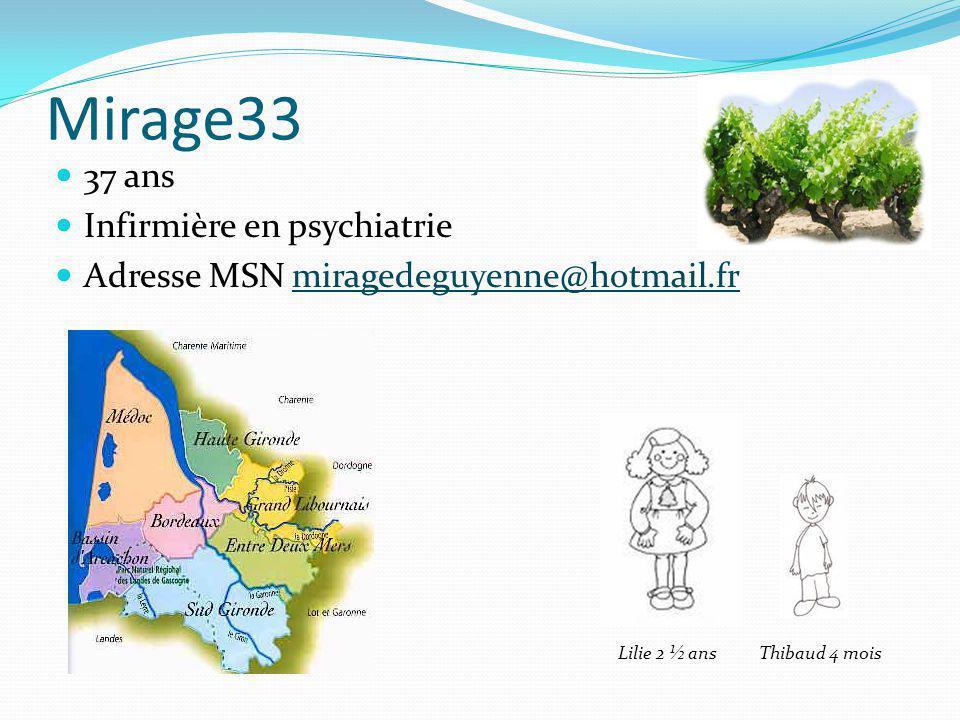 Mirage33 37 ans Infirmière en psychiatrie Adresse MSN miragedeguyenne@hotmail.frmiragedeguyenne@hotmail.fr Thibaud 4 moisLilie 2 ½ ans
