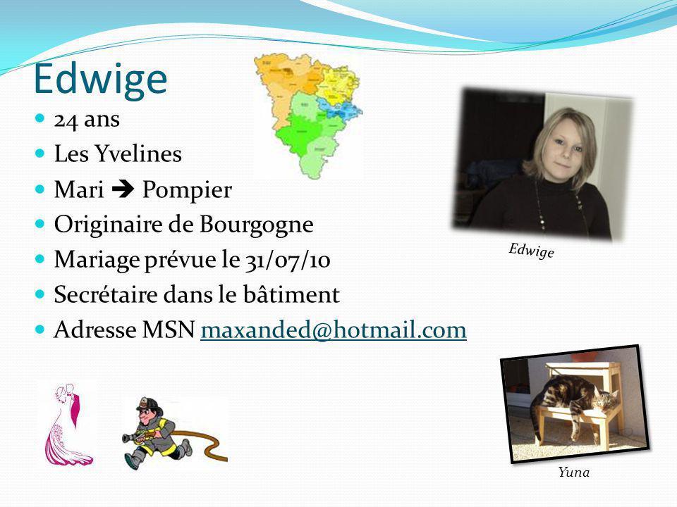 Edwige 24 ans Les Yvelines Mari Pompier Originaire de Bourgogne Mariage prévue le 31/07/10 Secrétaire dans le bâtiment Adresse MSN maxanded@hotmail.co