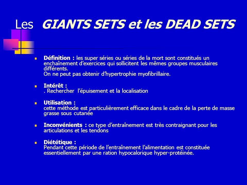 Les GIANTS SETS et les DEAD SETS Définition : les super séries ou séries de la mort sont constitués un enchaînement dexercices qui sollicitent les mêm