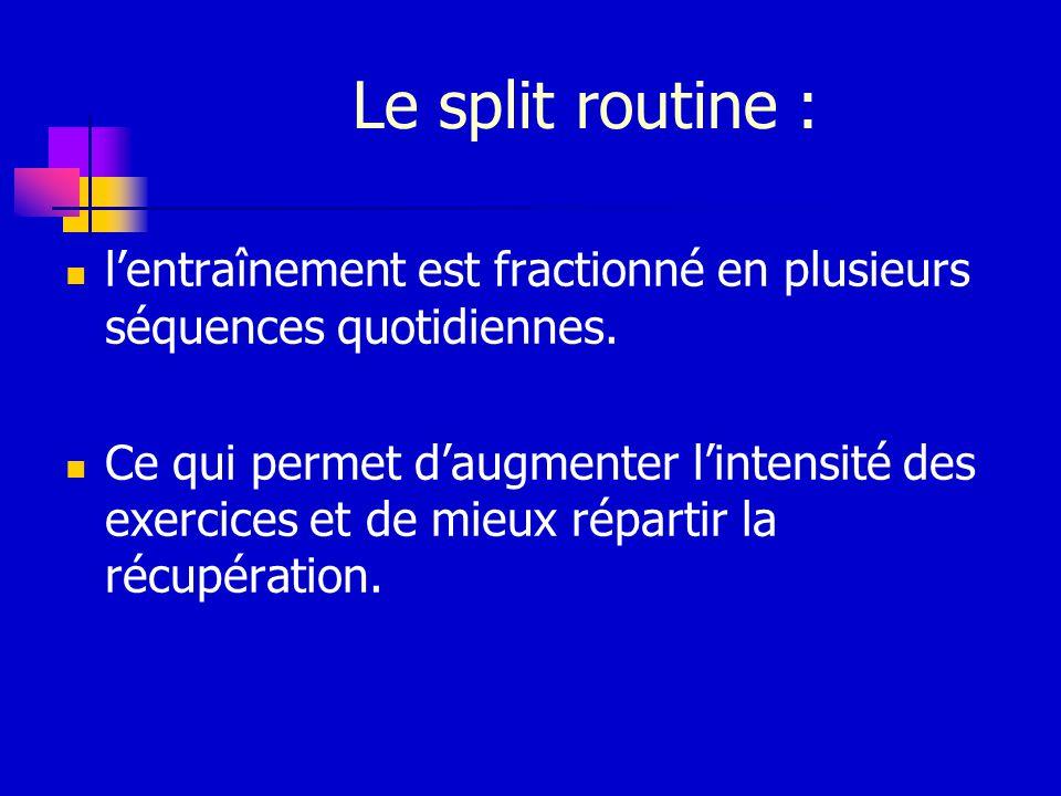 Le split routine : lentraînement est fractionné en plusieurs séquences quotidiennes. Ce qui permet daugmenter lintensité des exercices et de mieux rép