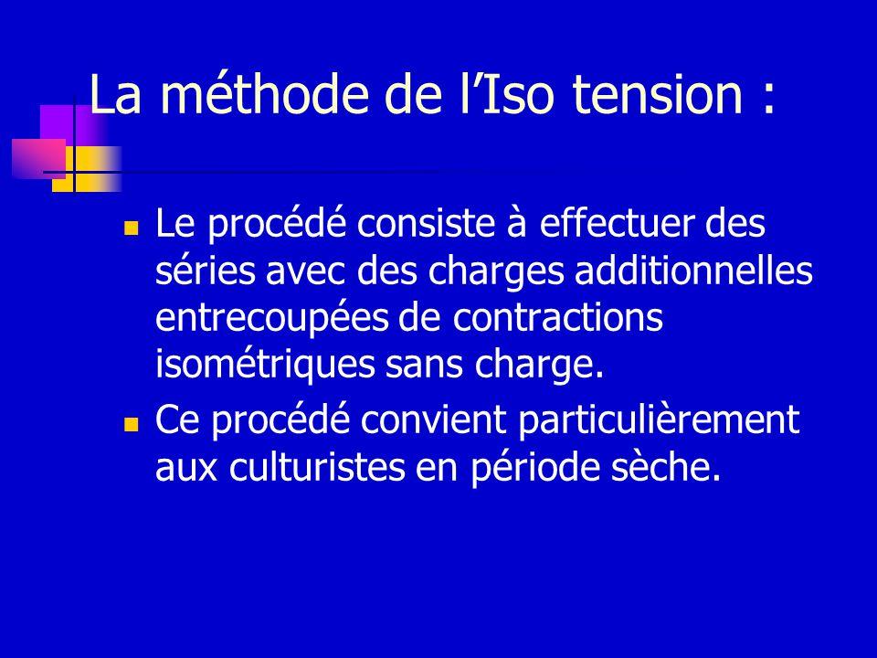 La méthode de lIso tension : Le procédé consiste à effectuer des séries avec des charges additionnelles entrecoupées de contractions isométriques sans