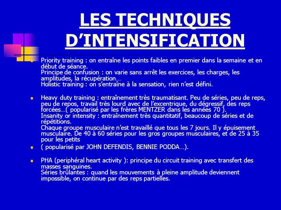 LES TECHNIQUES DINTENSIFICATION Priority training : on entraîne les points faibles en premier dans la semaine et en début de séance. Principe de confu