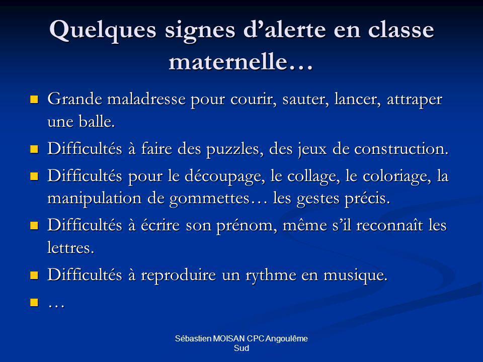 Sébastien MOISAN CPC Angoulême Sud Quelques signes dalerte en classe maternelle… Grande maladresse pour courir, sauter, lancer, attraper une balle.