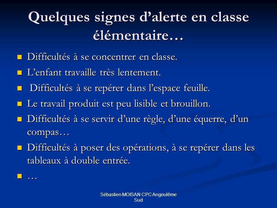 Sébastien MOISAN CPC Angoulême Sud Quelques signes dalerte en classe élémentaire… Difficultés à se concentrer en classe.