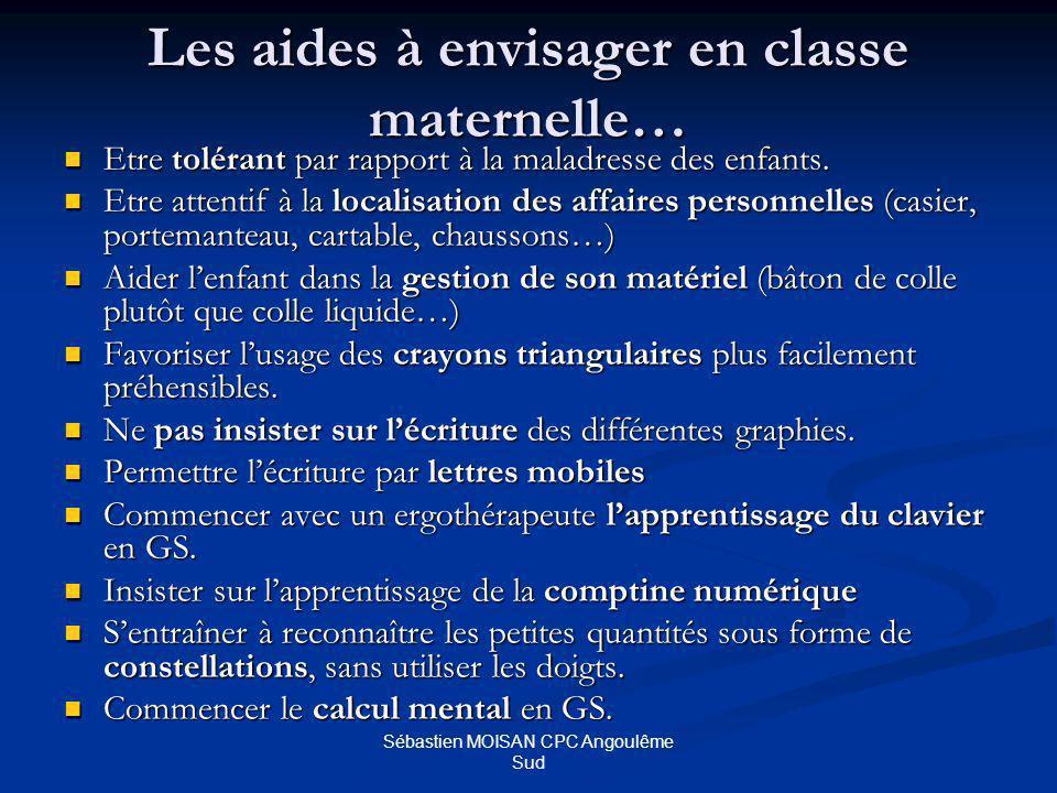 Sébastien MOISAN CPC Angoulême Sud Les aides à envisager en classe maternelle… Etre tolérant par rapport à la maladresse des enfants.