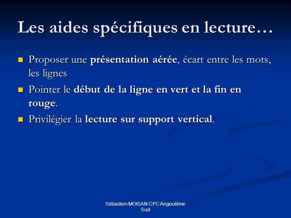 Sébastien MOISAN CPC Angoulême Sud Les aides spécifiques en écriture… Choisir une graphie et sy tenir.