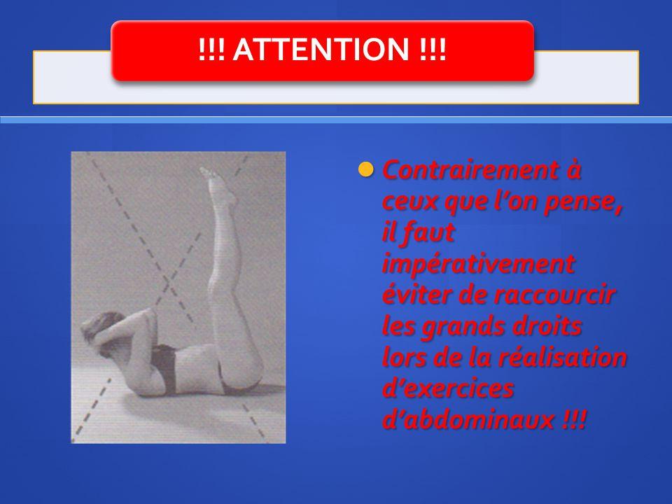 !!! ATTENTION !!! Contrairement à ceux que lon pense, il faut impérativement éviter de raccourcir les grands droits lors de la réalisation dexercices