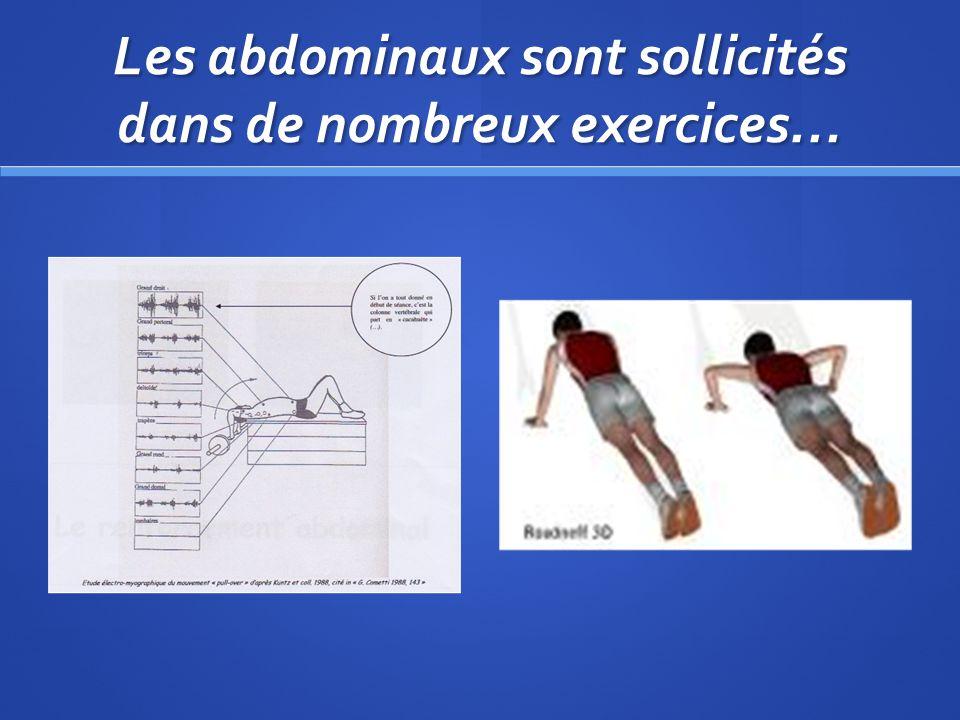 Les abdominaux sont sollicités dans de nombreux exercices…