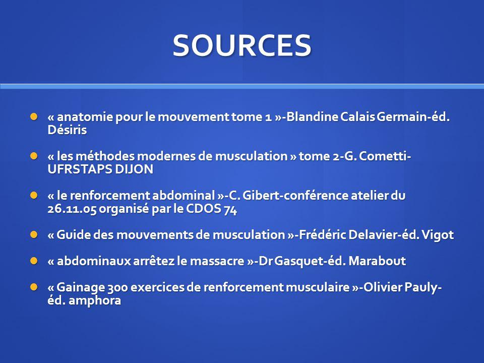 SOURCES « anatomie pour le mouvement tome 1 »-Blandine Calais Germain-éd. Désiris « anatomie pour le mouvement tome 1 »-Blandine Calais Germain-éd. Dé