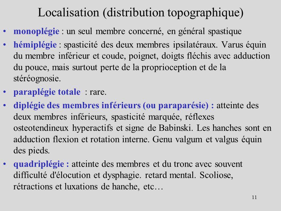Localisation (distribution topographique) monoplégie : un seul membre concerné, en général spastique hémiplégie : spasticité des deux membres ipsilaté