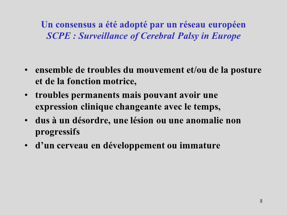 Un consensus a été adopté par un réseau européen SCPE : Surveillance of Cerebral Palsy in Europe ensemble de troubles du mouvement et/ou de la posture
