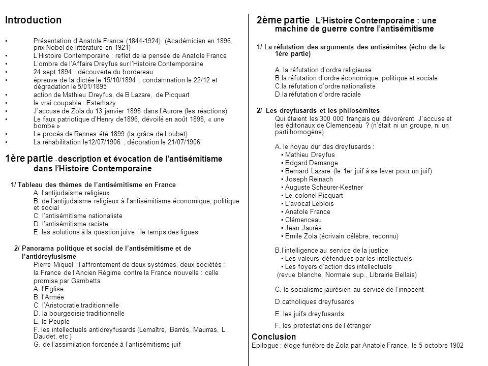 Introduction Présentation dAnatole France (1844-1924) (Académicien en 1896, prix Nobel de littérature en 1921) LHistoire Contemporaine : reflet de la